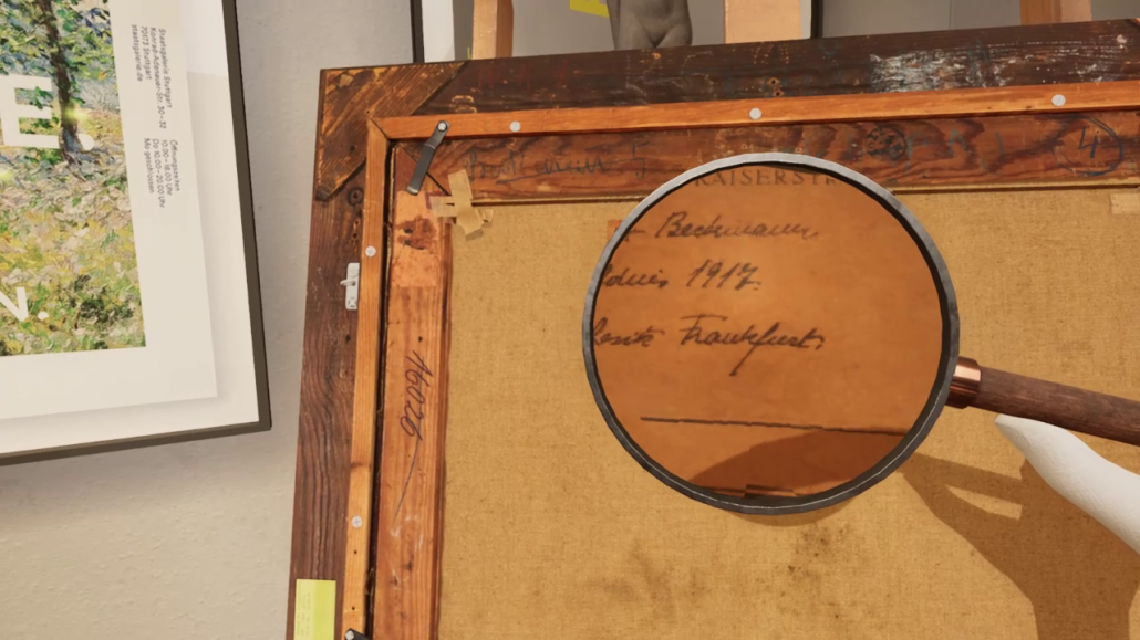 What you can't see in the museum: Decipher the markings on the back of the painting.