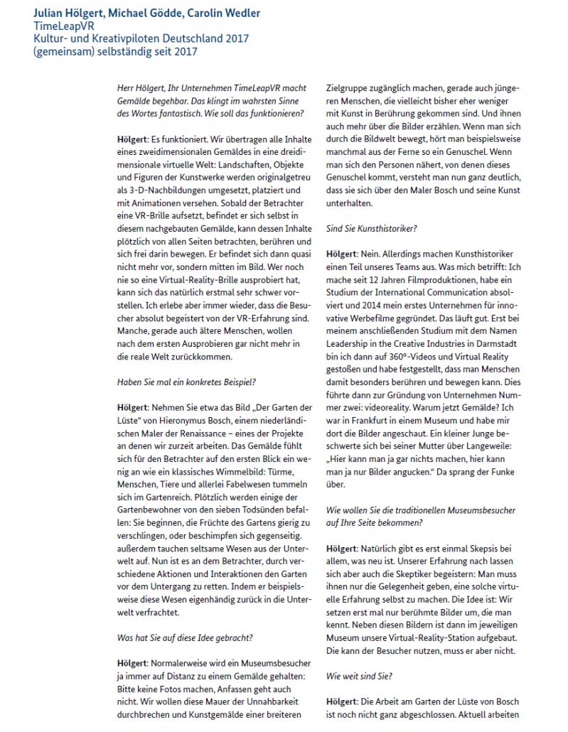 """""""Alles, nur kein Unternehmer"""" - Interview TimeLeapVR Seite 1"""