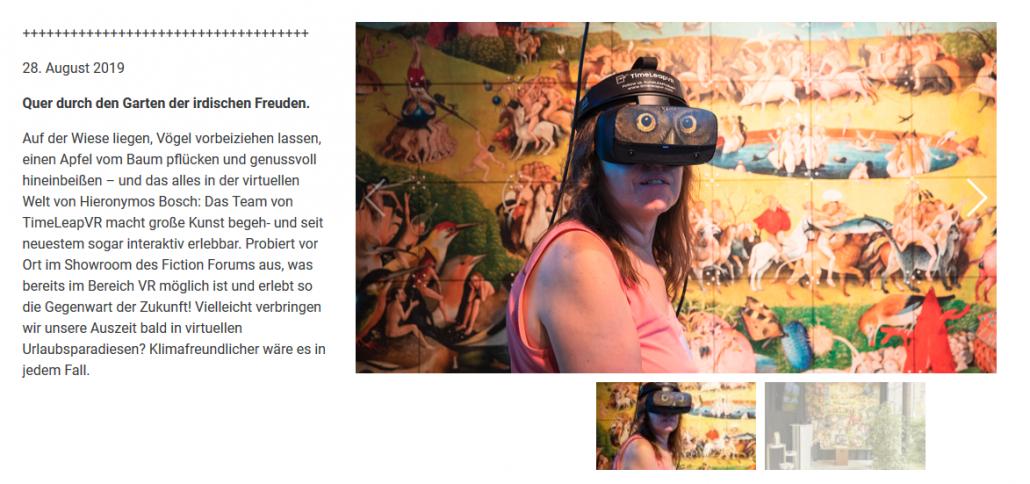 Artikel über den Garten der Lüste im Fiction Forum Berlin